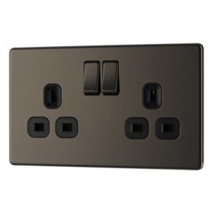 View Colours 13A 2-Gang Black Nickel Effect Switched Socket details