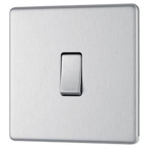 View Colours 1-Gang 2-Way 10AX Brushed Stainless Steel Single Light Switch details