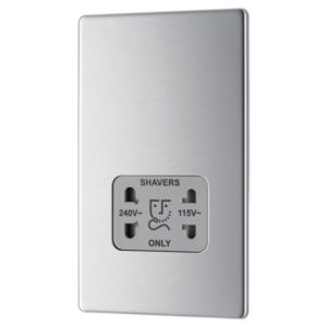 View Colours Low Brushed Steel Screwless Faceplate 230V Dual Voltage Shaver Socket details