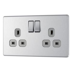 View Colours Clip On Profile Brushed Steel Effect Switched Double Rocker Socket details