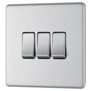 View Colours 3-Gang 2-Way 10A Silver Brushed Stainless Steel Triple Light Switch details