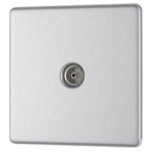 View Colours Low Profile Screwless Brushed Steel Co-Axial Socket details