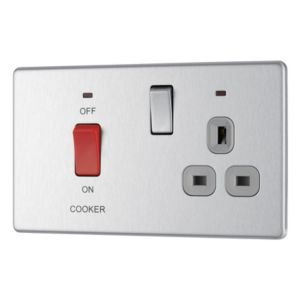 View Colours 2-Gang 45A Brushed Steel Cooker Switch & Socket details