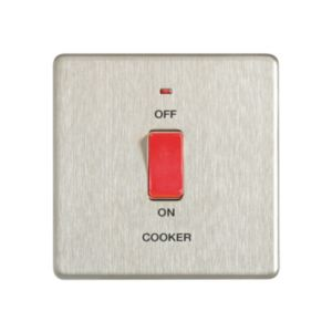View Colours 1-Gang 45A Brushed Stainless Steel Cooker Switch details
