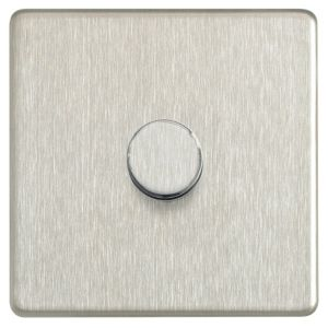 View Colours Steel Effect 1-Gang Push On/Off with Rotary Dimming 400W Dimmer Switch details