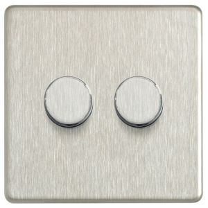View Colours Steel Effect 2-Gang Push On/Off with Rotary Dimming 400W Dimmer Switch details