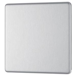 View Colours 1-Gang Single Brushed Steel Polycarbonate Blanking Plate details