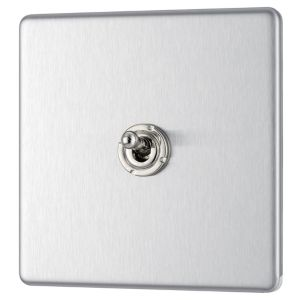 View Colours 1-Gang 2-Way 10AX Brushed Stainless Steel Single Toggle Light Switch details