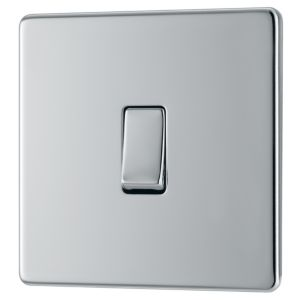 View Colours 1-Gang 2-Way 10AX Chrome Effect Single Light Switch details
