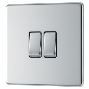 View Colours 2-Gang 2-Way 10AX Chrome Effect Double Light Switch details