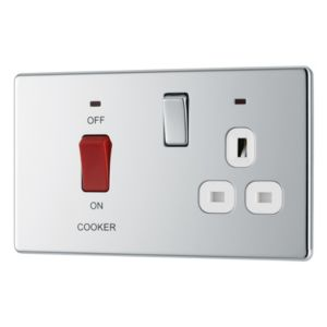 View Colours 2-Gang 45A Polished Chrome Effect Cooker Switch & Socket details