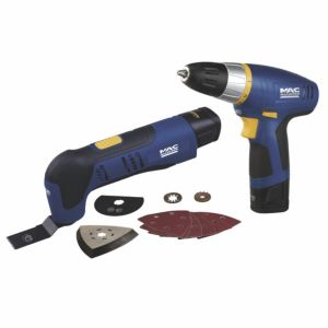 View Mac Allister Cordless 10.8V Li-Ion Multi Tool & Drill Driver 2 Batteries MMT108-LI/MDDA108-LI details