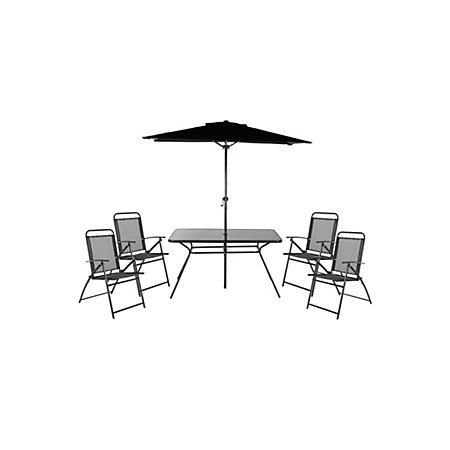 Bahama Metal 4 Seater Dining Set Parasol Departments DIY At B Q