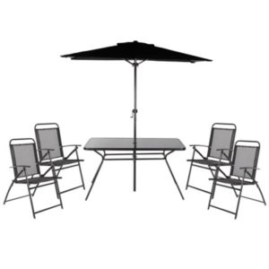 View Bahama Metal 4 Seater Dining Set & Parasol details
