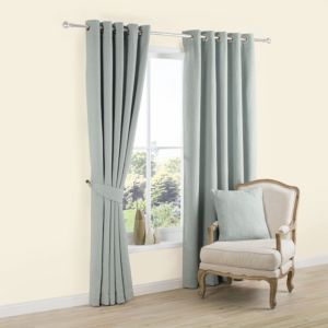 View Carina Duck Egg Plain Woven Eyelet Curtains (W)228cm x (L)228cm details