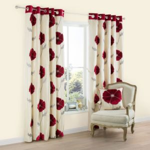 View Lilium Cream & Red Poppy Applique Eyelet Curtains (W)228cm x (L)228cm details