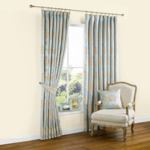 Caraway Duck Egg Gold Effect Floral Jacquard Pencil Pleat Curtains W 228cm X L 228cm