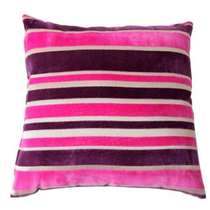 View Tuberose Striped Cream, Pink & Purple Cushion details