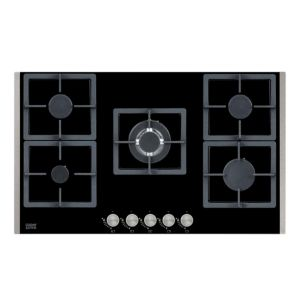 Cooke & Lewis HG90GGCL 5 Burner Black Cast Iron & Glass Gas Gas On Glass Hob