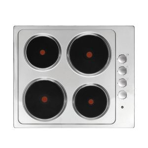 Cooke & Lewis 4 Burner Stainless Steel Electric Solid Plate Hob