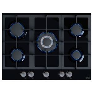 Cooke & Lewis CLGH70BK 5 Burner Black Cast Iron & Glass Gas Gas On Glass Hob