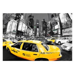 View Yellow Cabs Grey, White & Yellow Wall Art (W)160cm x (H)110cm details