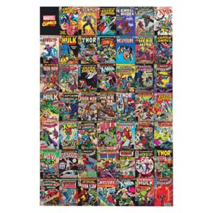 Image of Marvel Comic montage Multicolour Canvas art (H)900mm (W)600mm