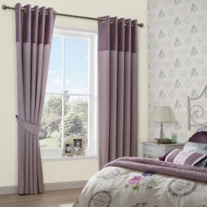 Image of Arcadia Clematis Velvet Header Faux Silk Eyelet Lined Curtains (W)167 cm (L)228 cm