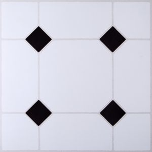 B&Q Black & White Tile Effect Self Adhesive Vinyl Tile 1.02m² Pack