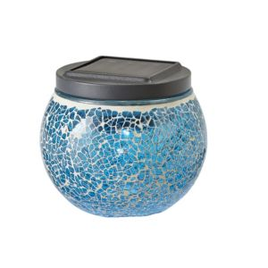 View Blooma Eton Blue Mosaic Globe Solar Powered LED Table Lamp details