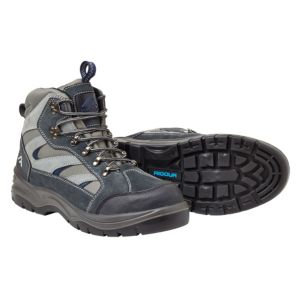 Rigour Grey & Blue Split Suede Leather Steel Toe Cap Hiker Boots  Size 8