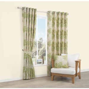 Image of Araxa Citrus Green Leaves Woven Eyelet Lined Curtains (W)117 cm (L)137 cm