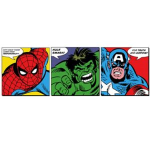 Image of Marvel Faces Multicolour Wall art Set of 3 (H)300mm (W)300mm