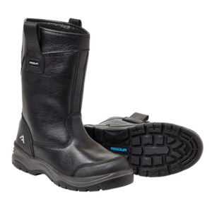 View Rigour Black Action Leather Steel Toe Cap Rigger Boots, Size 10 details