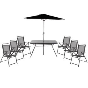 View Bahama Metal 6 Seater Dining Set & Parasol details