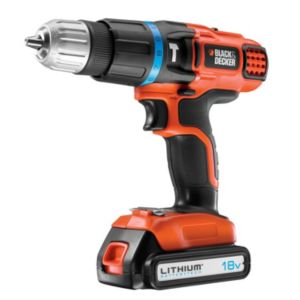 View Black & Decker Cordless 18V Li-Ion Drill 1 Battery BDH18K details