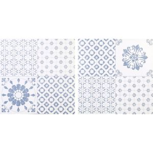 Colours Blue & White Patchwork Effect Self Adhesive Vinyl Tile 1.02m² Pack
