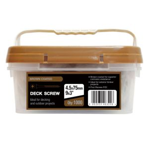 View B&Q Steel Decking Screw (Dia)4.5mm (L)75mm, Pack of 1000 details