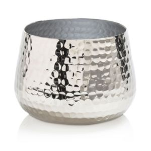 View Colours Nickel Effect Hammered Aluminium Votive Holder, Medium details
