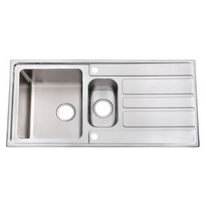 Cooke & Lewis Lunda 1.5 Bowl Satin Stainless Steel Sink with Reversible Drainer