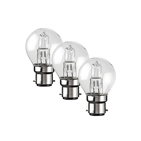 diall b22 42w halogen dimmable round light bulb pack of 3. Black Bedroom Furniture Sets. Home Design Ideas
