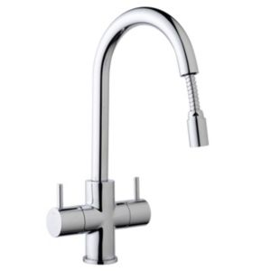 View Cooke & Lewis Zale Chrome Effect Monobloc Pull-Out Mixer Tap details