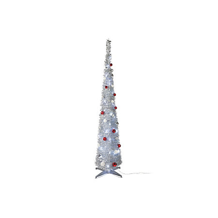 6ft pop up silver effect pre lit decorated led christmas tree - Pop Up Pre Lit And Decorated Led Christmas Tree