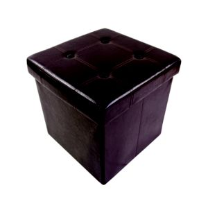 Brown Storage Ottoman Cube (H)375mm (W)375mm (D)380mm