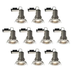 Diall Fire Rated Brushed Chrome Effect LED Fixed Downlight 3.5 W  Pack of 10