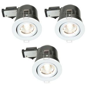 Diall Fire Rated White Gloss LED Tilt Downlight 3.5 W  Pack of 3