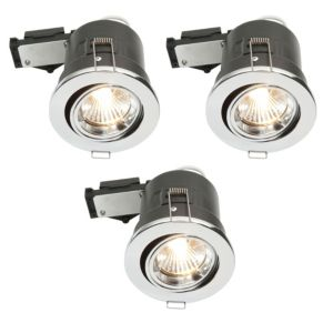 Diall Chrome Effect LED Adjustable Downlight 3.5 W Ip23  Pack of 3