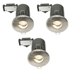 Diall Fire Rated Brushed Chrome Effect LED Fixed Downlight 3.5 W  Pack of 3