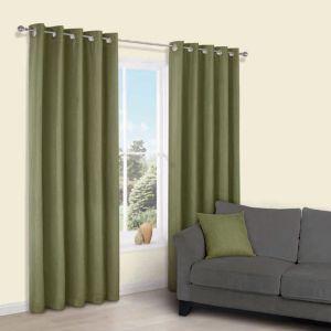 Image of Candra Green Herringbone Jacquard Eyelet Lined Curtains (W)117 cm (L)137 cm