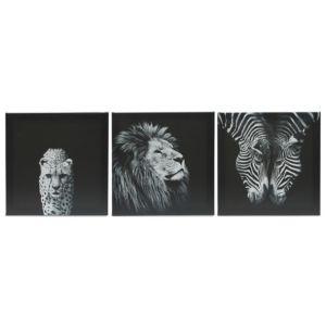 Image of Animals Black & white Canvas (W)900mm (H)300mm